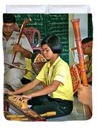 Students Playing Traditional Thai Instruments In Music Class At  Baan Konn Soong School In Sukhothai Duvet Cover