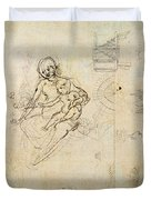 Studies For A Virgin And Child And Of Heads In Profile And Machines, C.1478-80 Pencil And Ink Duvet Cover