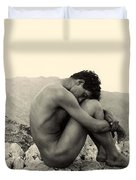 Study Of A Male Nude On A Rock In Taormina Sicily Duvet Cover