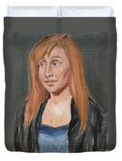 Study Of A Young Woman In A Black Sweater Duvet Cover