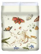 Study Of Insects And Flowers Duvet Cover