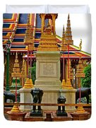 Stupa Surrounded By Elephants At Grand Palace Of Thailand In Ban Duvet Cover