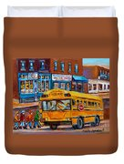 St.viateur Bagel And School Bus Montreal Urban City Scene Duvet Cover