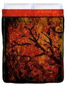 Stylized Cherry Tree With Old Textures And Border Duvet Cover