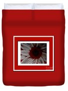 Stylized Daisy With Red Border Duvet Cover