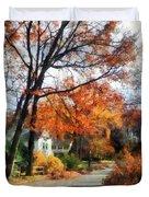 Suburban Street In Autumn Duvet Cover