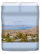 Suburbs And Lake Mead With Surrounding Duvet Cover
