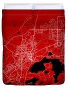 Sudbury Street Map - Sudbury Canada Road Map Art On Color Duvet Cover