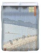 Sudden Shower On Ohashi Bridge At Ataka Duvet Cover by Ando Hiroshige