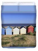 Suffolk Beach Huts Duvet Cover