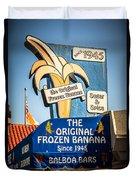 Sugar And Spice Frozen Banana Sign On Balboa Island Duvet Cover