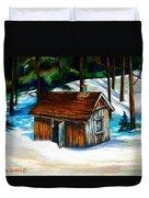 Sugar Shack Quebec Landscape Duvet Cover