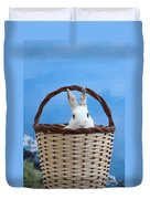 sugar the easter bunny 4 - A curious and cute white rabbit in a hand basket  Duvet Cover