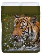 Sumatran Tiger Splashing In The Water Duvet Cover