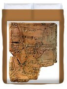 Sumerian Map, Clay Cuneiform Tablet Duvet Cover