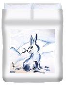 Sumi-e Snow Bunny Duvet Cover