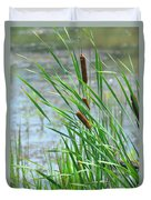 Summer Cattails In The Breeze Duvet Cover