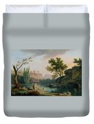 Summer Evening Landscape In Italy Duvet Cover