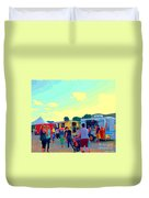 Summer Family Fun Paintings Of Food Truck Art Roadside Eateries Dad Mom And Little Boy Cspandau Duvet Cover