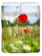 Summer Meadow With Red Poppy Duvet Cover