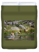 Summer Morning Dip - Elk In Yellowstone National Park - Wyoming Duvet Cover
