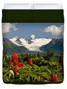 Summer Scenic Of Grewingk Glacier And Duvet Cover