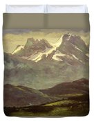 Summer Snow On The Peaks Or Snow Capped Mountains Duvet Cover
