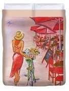 Summer Stroll By A Cafe Duvet Cover