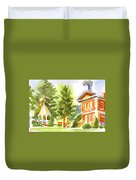 Summers Morning On The Courthouse Square Duvet Cover