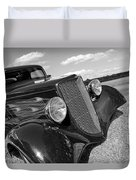 Summertime Blues In Black And White - Ford Coupe Hot Rod Duvet Cover