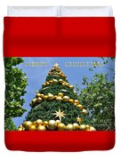 Summertime Christmas With Text Duvet Cover by Kaye Menner