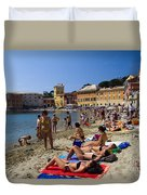 Sun Bathers In Sestri Levante In The Italian Riviera In Liguria Italy Duvet Cover