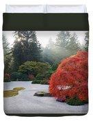 Sun Beams At Japanese Flat Sand Zen Garden Duvet Cover