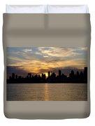 Sun Comes Up On New York City Duvet Cover
