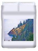 Sun Notch On A Rainy Day At Crater Lake National Park-oregon Duvet Cover