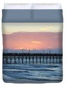 Sun Over Crowed Pier Duvet Cover