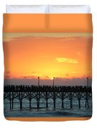 Sun In Clouds Over Pier Duvet Cover