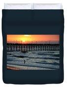 Sun Over Pier And Bird In Surf Duvet Cover