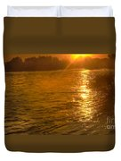 Sun Rays On The Payette River Duvet Cover