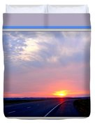 Sun Set Going Home On The Toll Road Duvet Cover