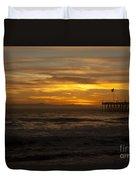 Sun Setting Behind Santa Cruz With Ventura Pier 01-10-2010 Duvet Cover