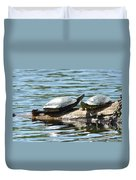 Sun Stretching Turtle And Youngster Duvet Cover