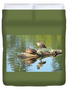Sunbathing Mallards Reflecting Duvet Cover
