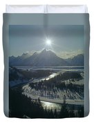 1m9313-sunburst Over Grand Teton, Wy Duvet Cover