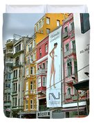 Sunday Afternoon On Pedestrian Walkway In Istanbul-turkey Duvet Cover
