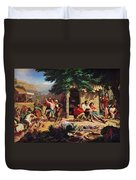 Sunday Morning In The Mines Duvet Cover by Charles Nahl