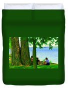 Sunday Picnic On The Lake Maple Trees At The Canal Pte Claire Montreal Waterscene Carole Spandau Duvet Cover