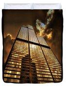 Sundown At Willis Sears Tower Duvet Cover