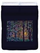 Sundown In Woods Duvet Cover