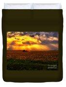 Sundown On The Working Farmer Duvet Cover